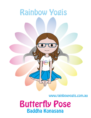 butterfly pose with the butterflies  rainbow pammy yoga