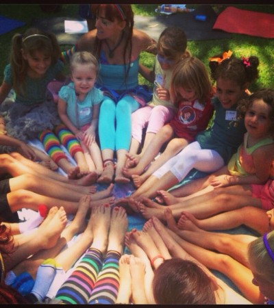 A special circle with all our Rainbow Yogis